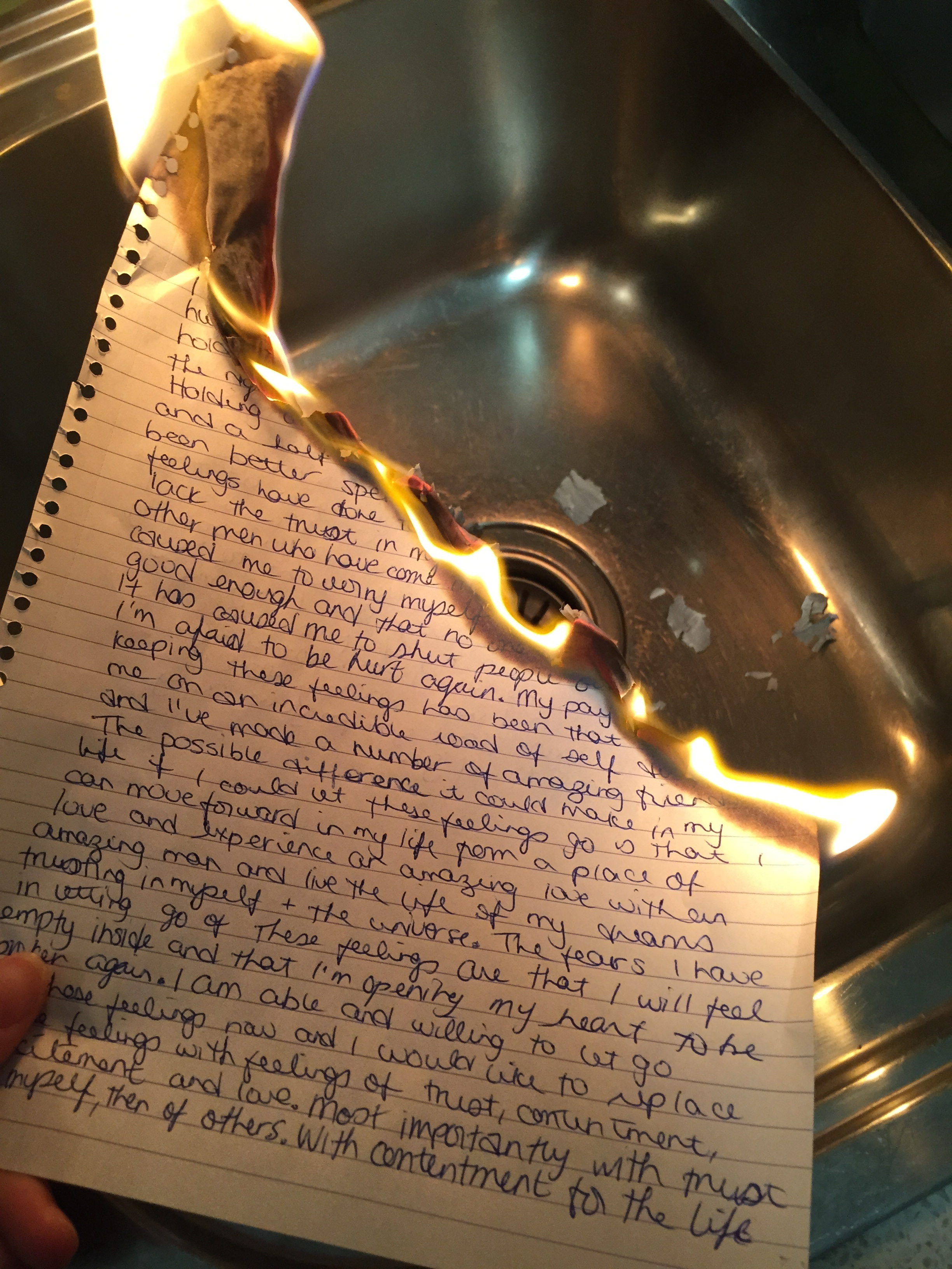 Custom of writing letters and burning them